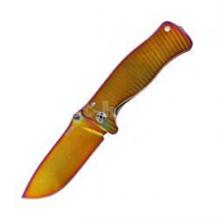 Нож складной SR-1, Solid® Yellow / Violet PVD-Coated Titanium Handle, Yellow / Violet PVD-Coated Sleipner Stainless Steel